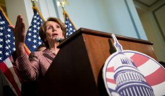 House Minority Leader Nancy Pelosi, California Democrat, speaks at a press conference to announce leadership positions for the 113th Congress at the U.S. Capitol, Washington, D.C., Thursday, Nov. 29, 2012. As expected, Mrs. Pelosi will keep her position. (Andrew Harnik/The Washington Times)