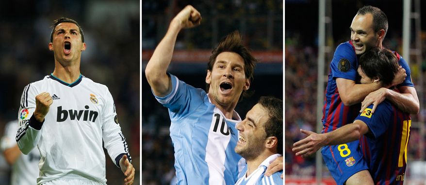 In this combo of three file photographs, Real Madrid's Cristiano Ronaldo from Portugal, left, FC Barcelona's  Lionel Messi fro Argentina, center, and also FC Barcelona's Andres Iniesta celebrate goals in their respective soccer matches. Messi, Ronaldo and Iniesta are the finalists for FIFA's world player of the year award. They were picked from a list of 23 candidates for this year's Ballon d'Or, with Messi looking to become the first player to win the award four times. The Argentina and Barcelona playmaker won the award last three years. (AP Photo/Andres Kudacki, Eduardo Di Baia, Andres Kudacki, Files)