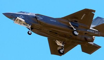 **FILE** The first F-35B fighter jet attached to Marine Fighter Attack Squadron 121 arrives at Marine Corps Air Station Yuma in Yuma, Ariz., on Nov. 16, 2012. (Associated Press/The Yuma Sun, Craig Fry)