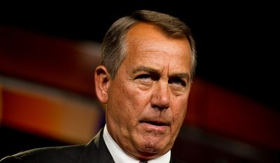 House Speaker John Boehner (R-Ohio) speaks to reporters about the looming financial crisis in the House Visitors Center at the U.S. Capitol Building, Washington, D.C., Thursday, November 29, 2012. (Andrew Harnik/The Washington Times)
