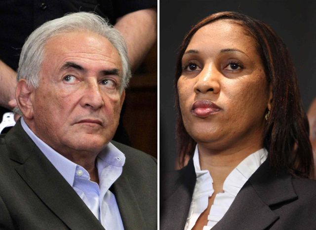 This combo made from file photos shows former International Monetary Fund chief leader Dominique Strauss-Kahn on May 19, 2011, left, and Nafissatou Diallo on July 28, 2011, in New York. (AP Photo, File)
