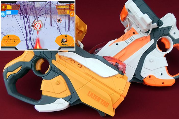 Hasbro's Lazer Tag 2-Blaster Battle Packs features two pistols that tap into an augmented reality game using an iPhone.  (Photo by Joseph Szadkowski/The Washington Times)