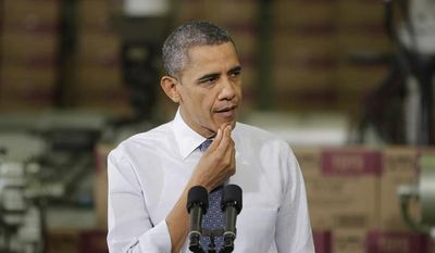 President Barack Obama gestures pauses while speaking at The Rodon Group manufacturing facility, Friday, Nov. 30, 2012, in Hatfield, Pa. (AP Photo/Matt Slocum)