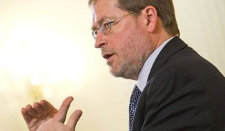 """Grover Norquist, president of Americans for Tax Reform, says the public broadcast of negotiations on the """"fiscal cliff"""" could hold lawmakers responsible for their promises and give Americans a firsthand view of public versus private rhetoric. (Barbara L. Salisbury/The Washington Times)"""