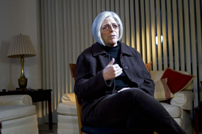 Judy Gross speaks about her husband, Alan Gross, a Maryland native who has been in a Cuban jail since 2009, during an interview with The Associated Press at her home in Washington on Thursday, Nov. 29, 2012. (AP Photo/Jose Luis Magana)