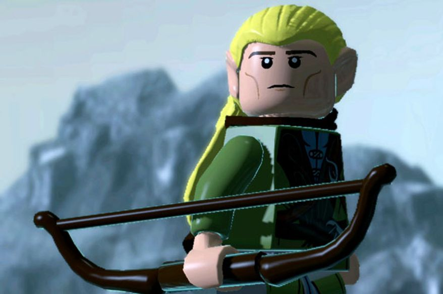 Legolas wields a bow and duel blades in Lego The Lord of the Rings: The Video Game.