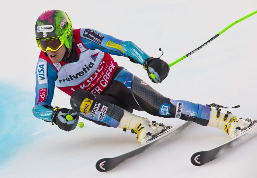 Ted Ligety from the United States, speeds down the course during the men's World Cup giant slalom ski race in Beaver Creek, Colo., on Sunday, Dec. 2, 2012. (AP Photo/Nathan Bilow)