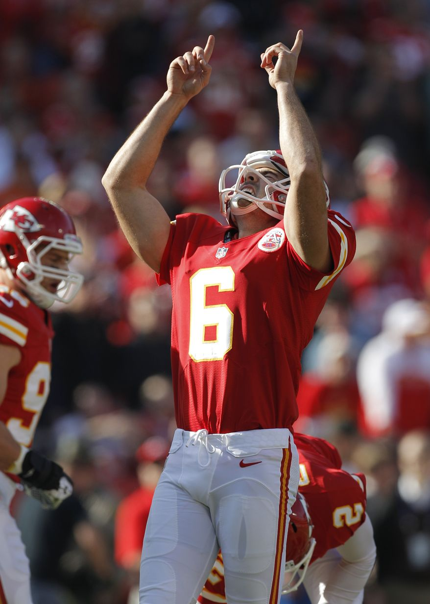 Kansas City Chiefs kicker Ryan Succop (6) celebrates a point after touchdown during the first half of an NFL football game against the Carolina Panthers at Arrowhead Stadium in Kansas City, Mo., Sunday, Dec. 2, 2012. (AP Photo/Ed Zurga)