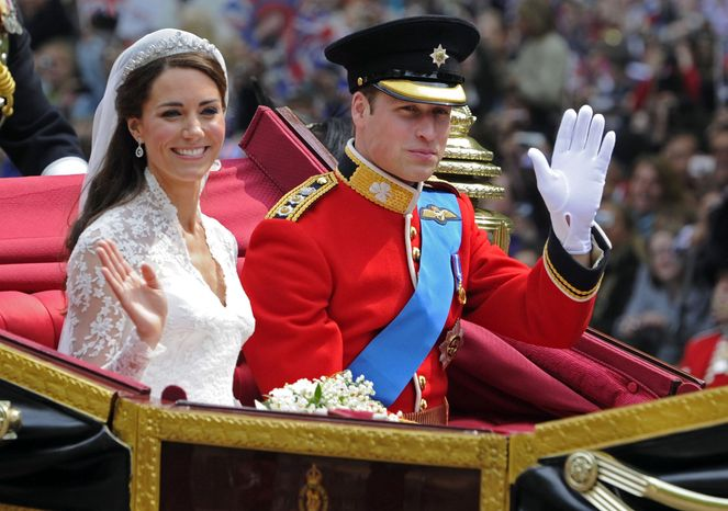 **FILE** Britain's Prince William and his bride, Kate, Duchess of Cambridge, leave Westminster Abbey in London on April 29, 2011, following their wedding. (Associated Press)