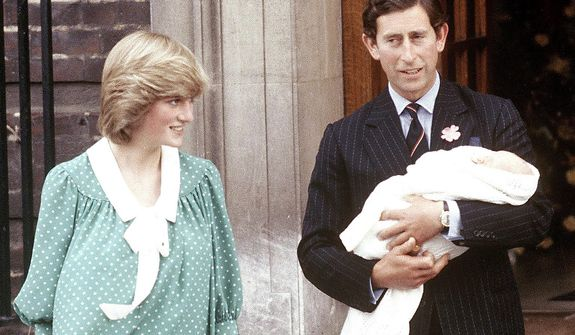 **FILE** Britain's Prince Charles, Prince of Wales, and his wife, Diana, take their newborn son, William, from St. Mary's Hospital in Paddington, London, on June 22, 1982. (Associated Press)