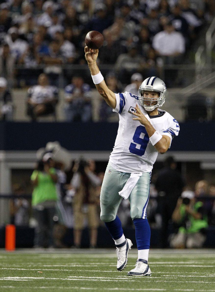 Dallas Cowboys quarterback Tony Romo  passes against the Philadelphia Eagles during an NFL football game Sunday, Dec. 2, 2012, in Arlington, Texas. The Cowboys won 38-33. (AP Photo/Tony Gutierrez)