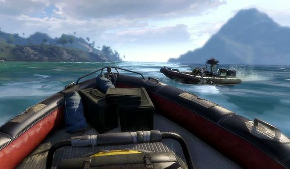 Take a boat ride around Rook Island in the video game Far Cry 3.