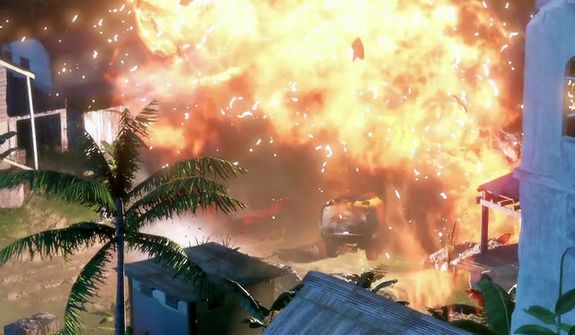 An explosive moment from the video game Far Cry 3.