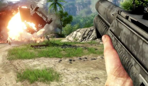 Blowing up an enemy vehicle in the video game Far Cry 3.