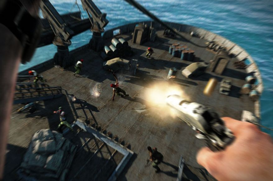 Jason Brody shoots first in the video game Far Cry 3.