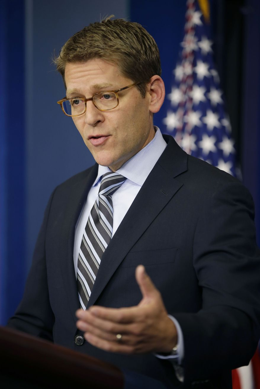 White House spokesman Jay Carney speaks during his daily news briefing at the White House in Washington on Dec. 3, 2012. (Associated Press)