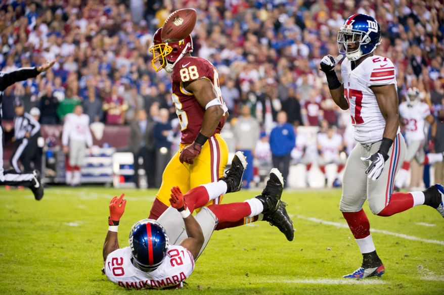 A deep deep pass intended for Washington Redskins wide receiver Pierre Garcon (88) is incomplete on the first play of the game as the Washington Redskins play the New York Giants for monday night football at FedEx Field, Landover, Md., Monday, December 3, 2012. (Andrew Harnik/The Washington Times)