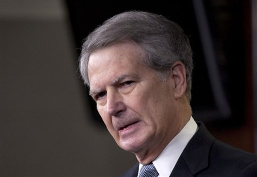 This May 5, 2011, photo shows Rep. Walter Jones, North Carolina Republican, speaking on Capitol Hill. (AP Photo/Harry Hamburg) ** FILE **
