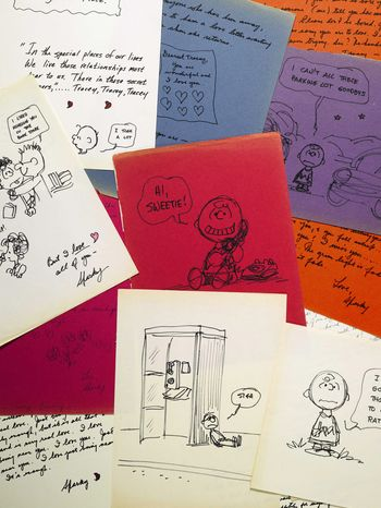 "The romantic letters and drawings that the late ""Peanuts"" creator Charles M. Schulz sent to a young woman 23 years his junior with whom he was infatuated are going to auction at Sotheby's in New York on Dec. 14. It's estimated they'll bring $250,000 to $350,000. (AP Photo/Sotheby's)"