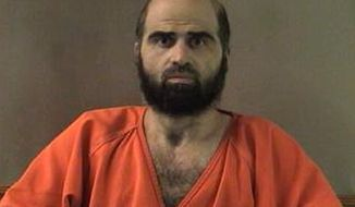 **FILE** This undated photo shows Nidal Hasan, the Army psychiatrist charged in the deadly 2009 Fort Hood shooting rampage. (Associated Press/Bell County Sheriff's Department via The Temple Daily Telegram)