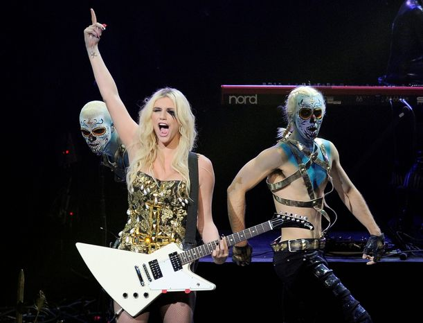 Ke$ha performs during the second night of KIIS FM's Jingle Ball at Nokia Theatre LA Live on Monday, Dec. 3, 2012, in Los Angeles. (Photo by Chris Pizzello/Invision/AP)
