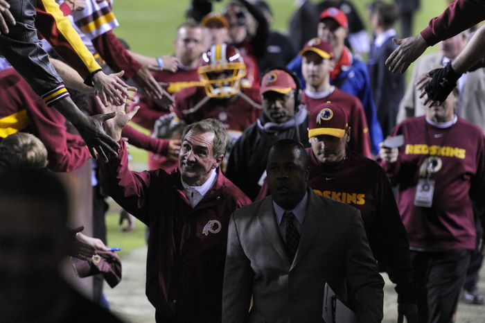 Washington Redskins head coach Mike Shanahan leaves the field after a 17-16 victory over the New York Giants at FedEx Field, Landover, Md., Dec. 3, 2012. (Preston Keres/Special to The Washington Times)