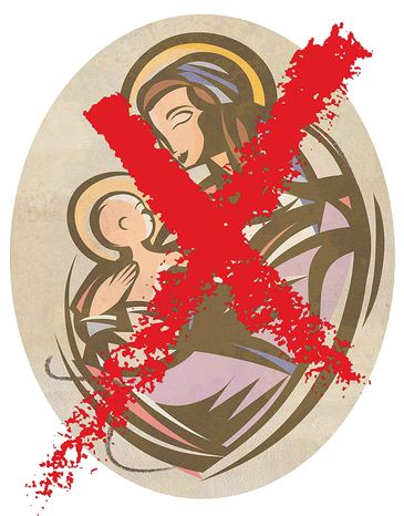 Illustration Crossing out the Nativity by Greg Groesch for The Washington Times