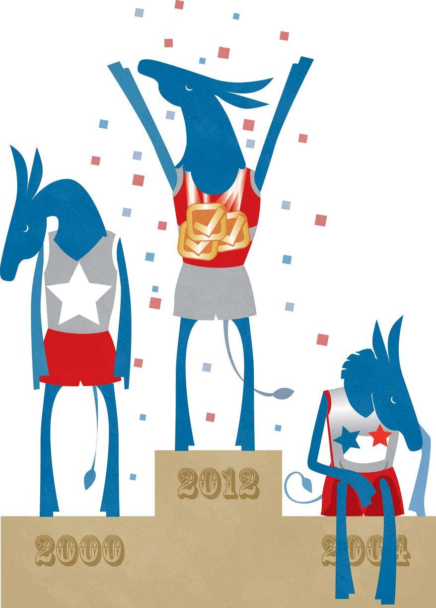 Illustration Winning Donkeys by Linas Garsys for The Washington Times