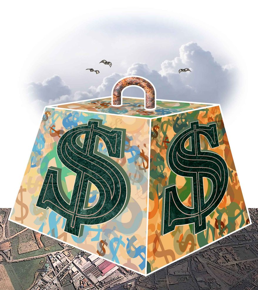 Illustration Massive Spending by Greg Groesch for The Washington Times