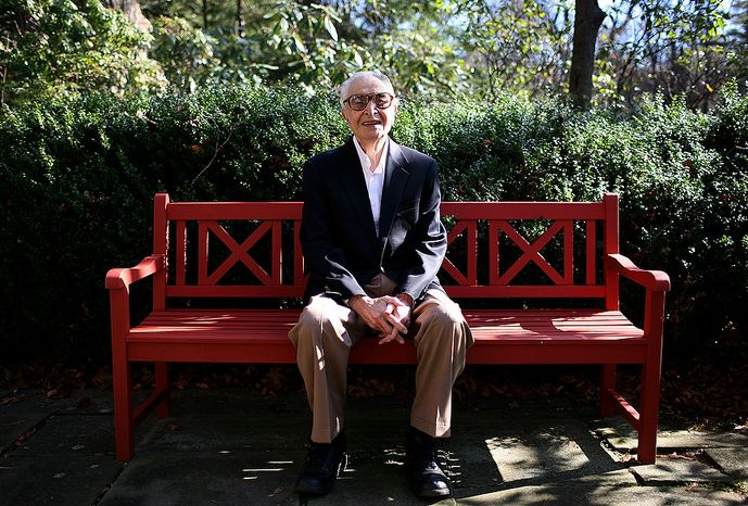 Jazz pianist and composer Dave Brubeck is photographed in the backyard of his home in Wilton, Conn., on November 17, 2009. (Katie Falkenberg / The Washington Times)