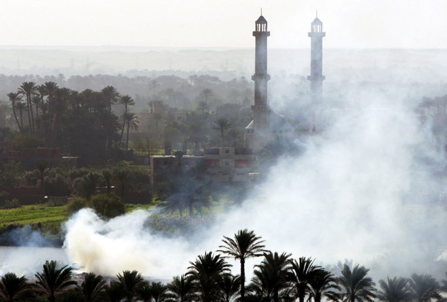 In this Tuesday, Nov. 6, 2007 file photo, smoke rises as Egyptian farmers burn their harvest remains in the village of Tamoh near Cairo, Egypt. (AP Photo/Amr Nabil, File)