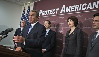 Speaker of the House John Boehner, Ohio Republican, and the House GOP leadership speak to reporters following a closed strategy session at the Capitol in Washington on Dec. 5, 2012. From left are House Majority Whip Kevin McCarthy, R-Calif., Boehner, Chief Deputy Whip Rep. Peter Roskam, Illinois Republican, Rep. Cathy McMorris Rodgers, Washington Republican, and House Majority Leader Eric Cantor, Virginia Republican. (Associated Press)