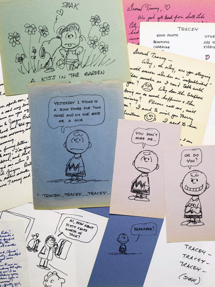 "This photo provided by Sotheby's in New York shows some of the romantic letters and drawings the late ""Peanuts"" creator Charles M. Schulz sent to a young woman 23 years his junior who infatuated him. The love notes from 1970 and 1971 are being offered at auction. (AP Photo/Sotheby's)"