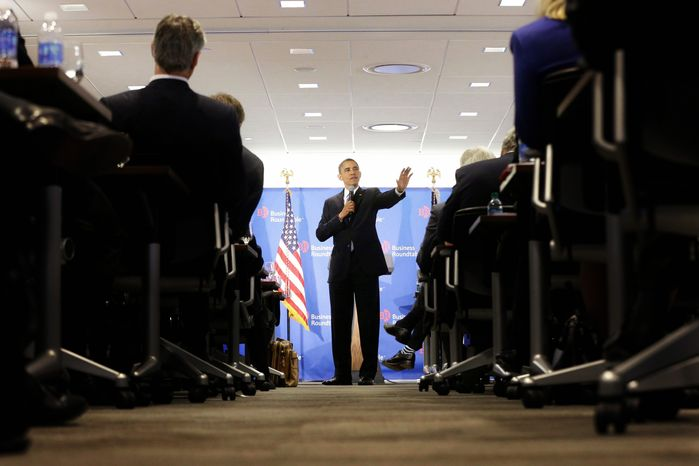 """President Obama, speaking at the Business Roundtable in Washington on Wednesday, said congressional Republicans should not create another fight over the nation's debt ceiling. It's """"not a game that I will play,"""" he warned. (Associated Press)"""