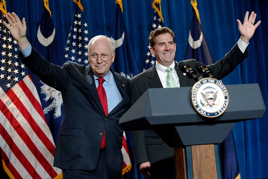 Vice President Dick Cheney waves to the crowd with Rep. Jim DeMint (right), South Carolina Republican, at a fundraising dinner for Mr. DeMint's senatorial race at the Myrtle Beach Convention Center on Friday, July 23, 2004, in Myrtle Beach, S.C. (AP Photo/Willis Glassgow)