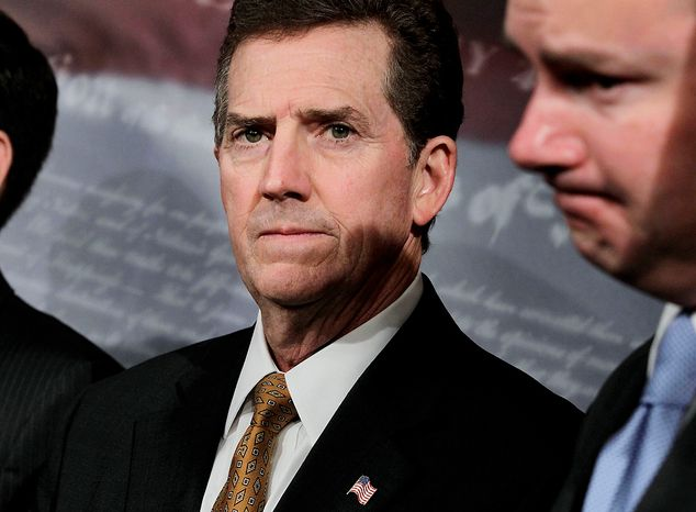 Sen. Jim DeMint, a member of the Senate Banking Committee and the Joint Economic Committee, leads other Republican senators on Capitol Hill in Washington on Wednesday, June 29, 2011, in a call to bypass the July Fourth holiday recess to stay in town to work on the debt crisis. (AP Photo/J. Scott Applewhite)