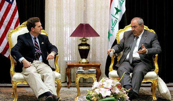 Iraqi Interim Prime Minister Ayad Allawi (right) and U.S. Sen. Jim DeMint, South Carolina Republican, meet in Baghdad on Sunday, Feb. 27, 2005. A delegation of visiting U.S. senators and representatives met with Mr. Allawi, though no statement was made to the media. (AP Photo/Karim Sahib, Pool)