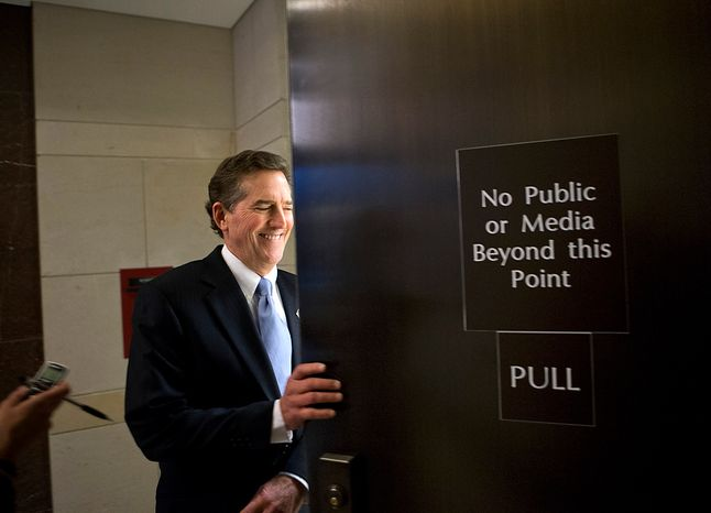 Sen. Jim DeMint, South Carolina Republican, arrives on Tuesday, Nov. 13, 2012, on Capitol Hill in Washington for a closed-door meeting of the Senate Foreign Relations Committee on the Sept. 11 assault on the U.S. Consulate in Benghazi, Libya, where Ambassador J. Christopher Stevens and others embassy staff were killed. (AP Photo/J. Scott Applewhite)