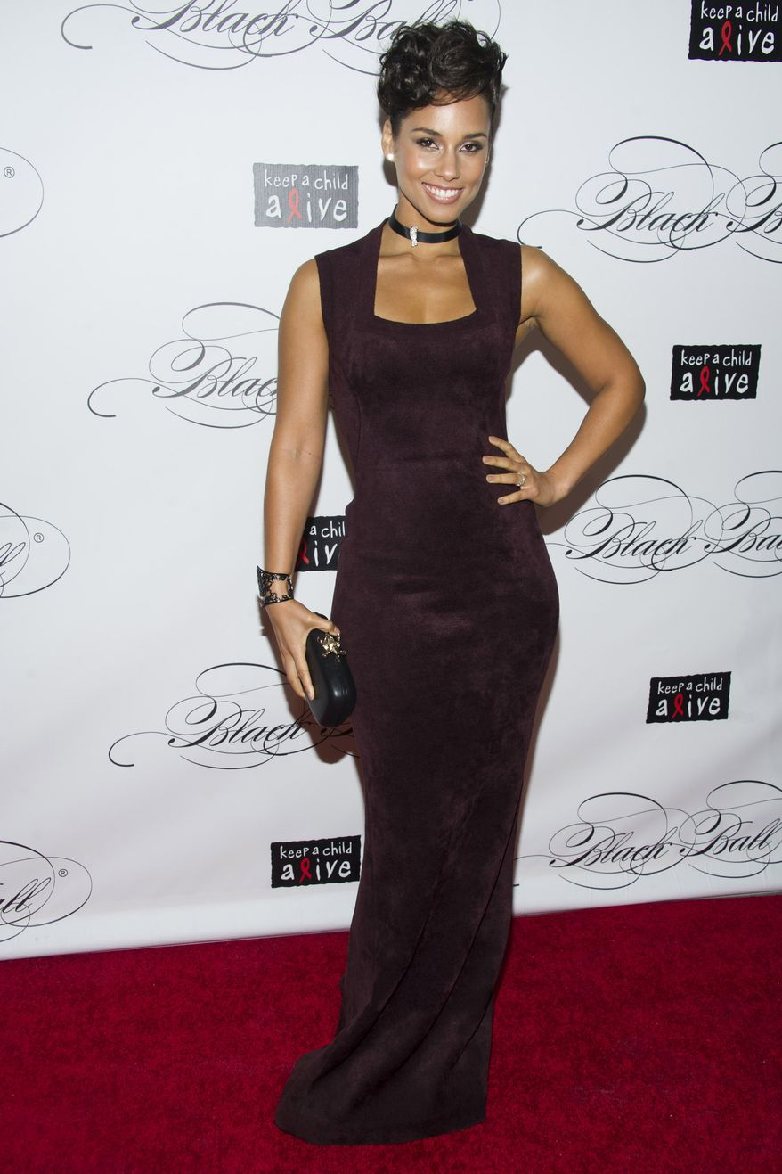 Alicia Keys attends Keep a Child Alive's ninth annual Black Ball in New York on Dec. 6, 2012. (Charles Sykes/Invision/Associated Press)