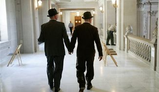 In this file photo from Tuesday, June 17, 2008, Curt Garman, left, and Richard Looke hold hands as they look for a quiet spot to hold their wedding at City Hall in San Francisco. The U.S. Supreme Court decided Friday, Dec. 7, 2012, to hear the appeal of a ruling that struck down Proposition 8, the state's measure that banned same sex marriages. The highly anticipated decision by the court means same-sex marriages will not resume in California any time soon. The justices likely will not issue a ruling until spring of next year. A federal appeals court ruled in February that Proposition 8's ban on same-sex marriage was unconstitutional. But the court delayed implementing the order until same-sex marriage opponents proponents could ask the U.S. Supreme Court to review the ruling. (AP Photo/Marcio Jose Sanchez)