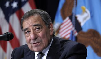 Defense Secretary Leon Panetta speaks during a joint news conference with Veterans Affairs Secretary Eric Shinseki at the Veterans Affairs Central Office in Washington on Dec. 6, 2012. (Associated Press)