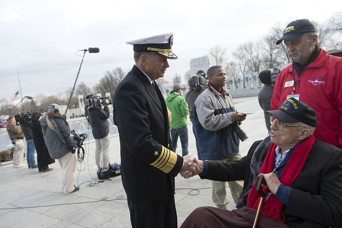 Admiral James Winnefeld, vice chairman of the Joint Chiefs of Staff, shakes hands with Jim Hardwick of Dallas, Texas, who served in the Pacific in the U.S. Navy during World War II. The admiral thanked Mr. Hardwick for his service following a wreath-laying ceremony at the National Pearl Harbor Remembrance Day Friday, Dec. 7, 2012 at the National World War II Memorial in Washington, D.C. (Barbara L. Salisbury/The Washington Times)