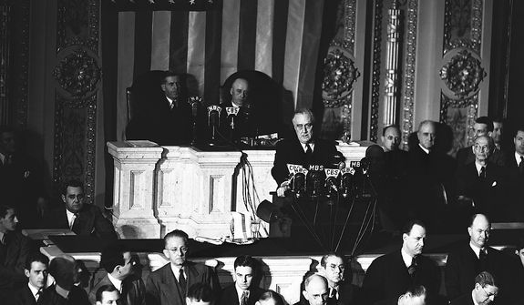 President Franklin D. Roosevelt, appearing before a joint session of Congress termed as unprovoked and dastardly the attack by Japan upon Hawaii and the Philippines and asked for an immediate declaration of war, Dec. 8, 1941. (AP Photo)