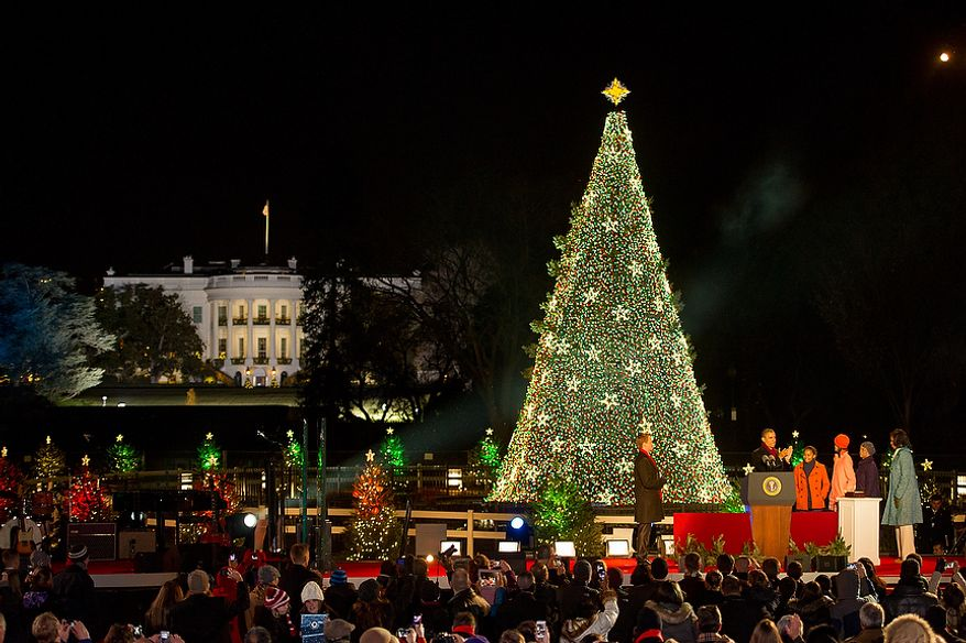 President Obama and the first family light the National Christmas Tree on the Ellipse south of the White House, Washington, D.C., Thursday, Dec. 6, 2012. (Andrew Harnik/The Washington Times)