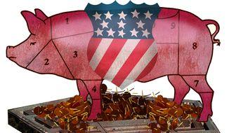 Illustration Defense Spending by Alexander Hunter for The Washington Times