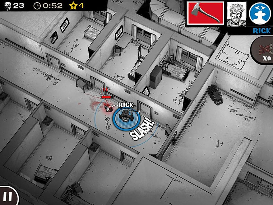 Deputy Sheriff Rick Grimes escapes a hospital in the iPad game The Walking Dead: Assault.