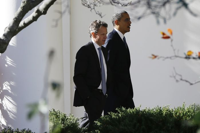 """President Obama (right) walks with Treasury Secretary Timothy F. Geithner toward the Oval Office at the White House in Washington as he returns from speaking about the """"fiscal cliff"""" at the Business Roundtable, an association of chief executive officers, on Wednesday, Dec. 5, 2012. (AP Photo/Charles Dharapak)"""