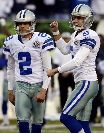 Dallas Cowboys kicker Dan Bailey (5) reacts after making a 40-yard field goal in the final seconds of the fourth quarter of their NFL football game to give them a 20-19 win over the Cincinnati Bengals, Sunday, Dec. 9, 2012, in Cincinnati. Holder Brian Moorman (2) watches. (AP Photo/Michael Keating)