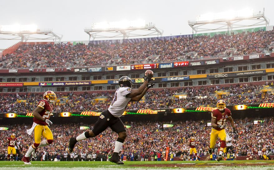 Baltimore Ravens wide receiver Anquan Boldin (81) catches a 19 yard touchdown pass in the first quarter as the Washington Redskins play the Baltimore Ravens at Fedex Field, Landover, Md., Sunday, December 9, 2012. (Andrew Harnik/The Washington Times)