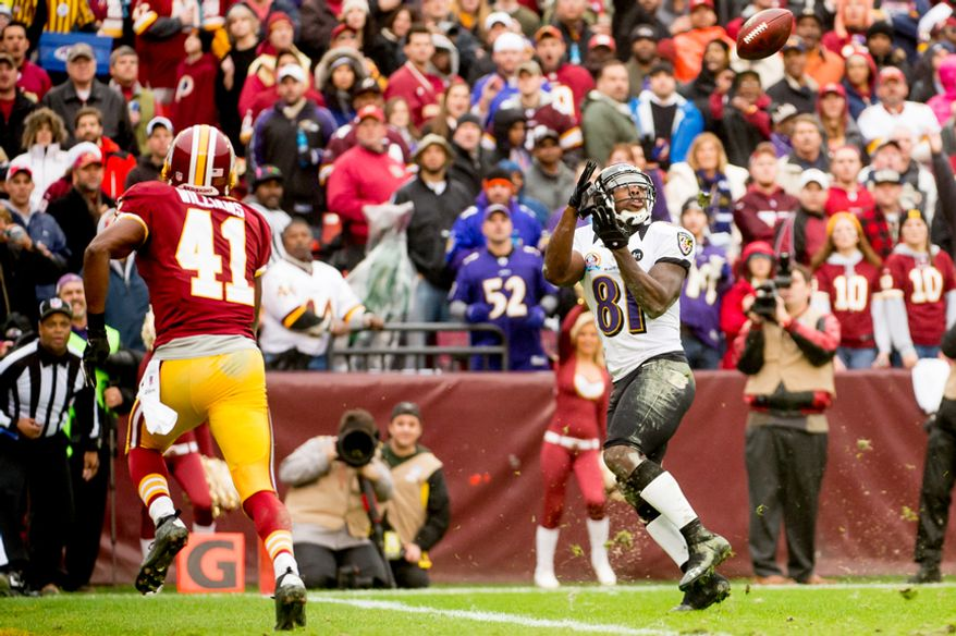 Baltimore Ravens wide receiver Anquan Boldin (81) catches a 31 yard touchdown pass in the second quarter as the Washington Redskins play the Baltimore Ravens at Fedex Field, Landover, Md., Sunday, December 9, 2012. (Andrew Harnik/The Washington Times)